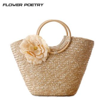 2018 Cute Women Straw & Wood Summer  Beach Travel Tote Handbag Bohemian style