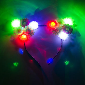 Cinco de Mayo LED Cat Ear Headband, Floral Cat Ears, LED Headband, Cinco de Mayo Dress, Cinco de Mayo Photo Booth Props, Festival Wear, Rave