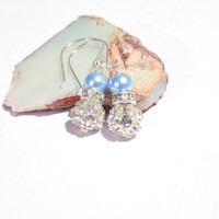 Swarovski  pearl earrings Blue