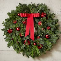 Live Fir & Red Fruit Wreath