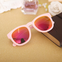 Pink and Red Celebrity Frame Reflective Sunglasses