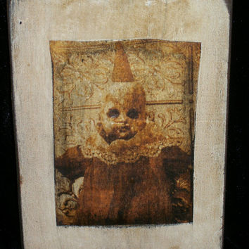 Creepy Doll Print on Wood Scary Horror Freak Altered Art Doll Photography Collography Disturbing Monster Zombie Gothic Dead Print Wall