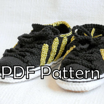 Adidas Inspired sneakers US 9-10 Men(EU 42-43) US 10-12 women (eu 41-43) Sneakers Crochet Pdf Pattern for slippers+ pattern for outer sole