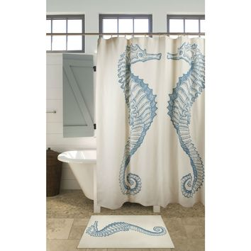 Seahorse Shower Curtain Beach Ocean Style 100% Cotton