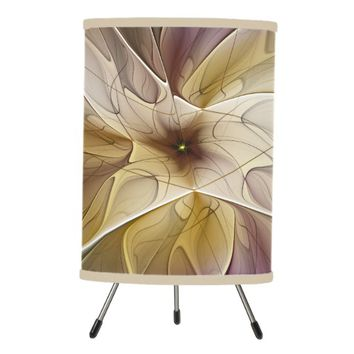 Floral Fantasy Gold Aubergine Abstract Fractal Art Tripod Lamp