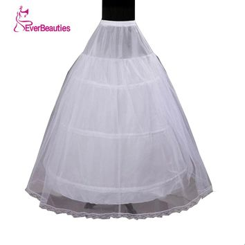 In Stock 2018 Hot Sale 3 Hoop Ball Gown Bone Full Crinoline Petticoats For Wedding Dress Wedding Skirt Accessories Slip