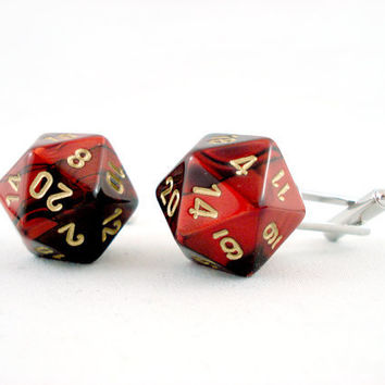 Premium Gemini Metallic Red Black and Gold D20 Cuff by angelyques