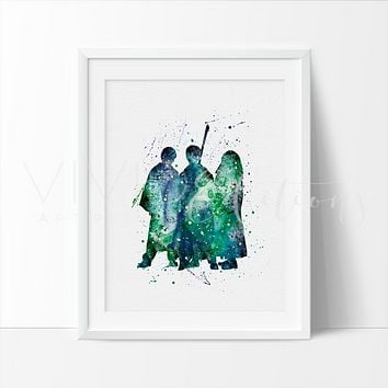 Harry Potter, Ronald Weasley & Hermione Granger Watercolor Art Print