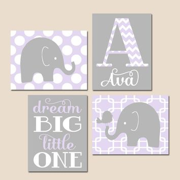 GIRL Elephant Nursery Wall Art, Lilac Gray Nursery Decor, Baby Girl Nursery Decor, Dream Big Little One, CANVAS or Prints Set of 4 Pictures