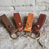 Personalized Custom Leather Keychain, Made By Hand. Add Your Initials, Street, Wedding Date and More. Monogrammed Leather Key Chain. Key fob
