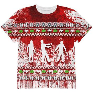 ONETOW Ugly Christmas Sweater Bloody Zombie Attack Survivor All Over Youth T Shirt