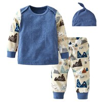 Fashion Baby Boy Clothes for Newborn Autumn Cotton Long Sleeve T-shirt Pants Set Casual Baby Boys Clothing set