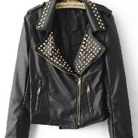 Black Rivet Embellished Lapel PU Leather Jacket S032