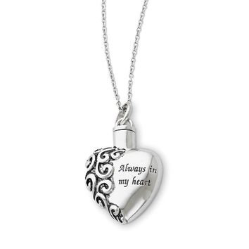 Sterling Silver Always in My Heart Ash Holder Necklace, 18 Inch