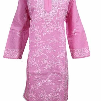 Womens Tunic Indian Dress Pink Floral Embroidered Chikankari Cotton Kurta Dress L: Amazon.ca: Clothing & Accessories