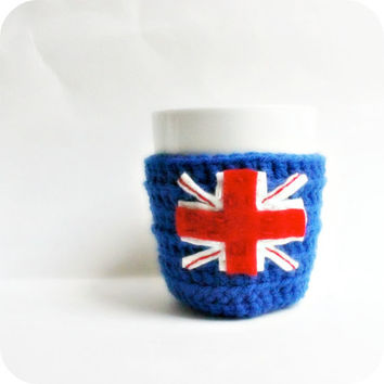 London Union Jack coffee mug tea cup cozy cosy blue white red crochet