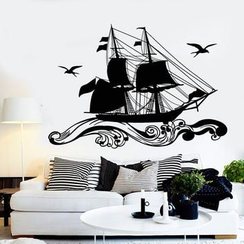 Vinyl Wall Decal Ship Sailor Sea Sails Cruise Seagull Birds Waves Stickers Unique Gift (1218ig)