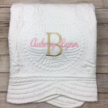 Personalized Baby Quilt, Blankets, Monogrammed Blankets for Kids, baby blankets for girls, embroidered baby gifts, soft for toddler girl or boy, Crib size