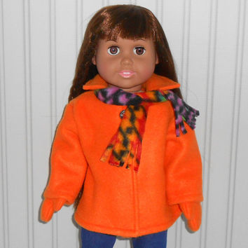 18 inch Girl Doll Clothes Orange Coat Fleece Jacket with Mittens and Scarf American Doll Clothes