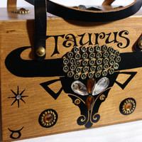 "Vintage Enid Collins ""Taurus"" Astrological Box Purse"