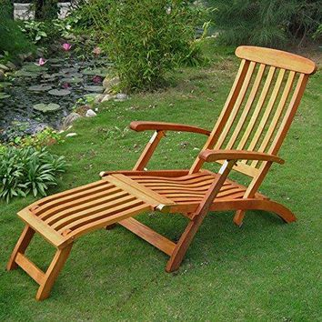 Eclipse Collection Royal Tahiti Outdoor Steamer Deck Lounger 5'6 inch L x 23.25 inch W x 36.25 inch H (Made in the USA)
