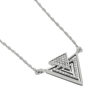 14k solid white gold diamond arrow necklace. triangle jewelry.
