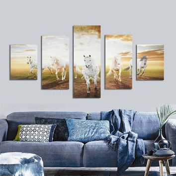 5 Pannel Running Horse Large HD Modern Home Wall Decor Canvas Print Oil Painting