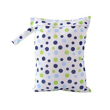 Organizers / Bags - Free Shipping - Waterproof / Reusable / Washable Tote Bag - Blue / Green Dots