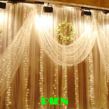 300LED Curtain lights for wedding Icicle LED String Fairy Light christmas party home decoration 3m*3m 3mx3m 220V 110V Free shipp