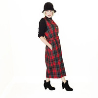 Plus Size Vintage Pendleton Red Tartan Plaid Midi Jumper Dress - Tea Length - Pockets