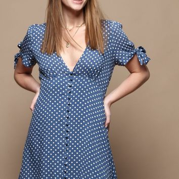 Polka Dot Buttondown Dress - Blue