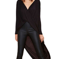 Black Long Sleeve Asymmetrical Wrap Long Back Top