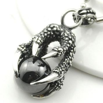 Dragon Claw With Black Crystal Ball Pendant Necklace