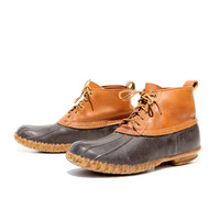 Let's Go Camping: The Maine Hunting Shoe. Fall Wardrobe Staples. Brown Leather Duck Boots. Made in USA by L L Bean. Size - Mens VTG US 10 M
