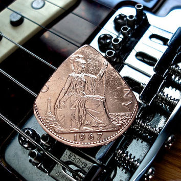 British Coin Guitar Pick - 1967 British Copper Penny