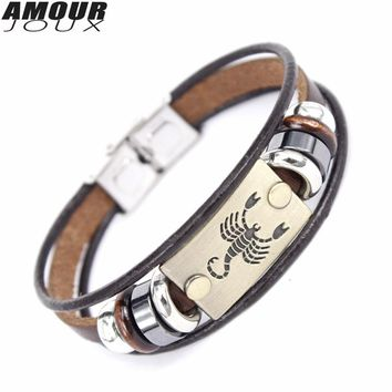AMOURJOUX Fashion 12 Constellations Zodiac Signs Beaded Charm Bracelet With Stainless Steel Clasp Leather Bracelet for Men Women