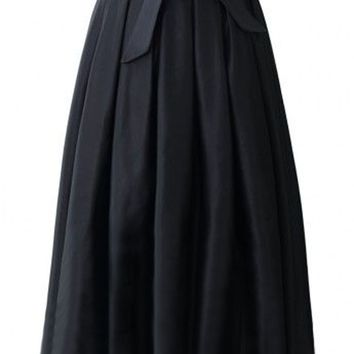 Runaway Maxi Skirts Womens Vintage 2017 Autumn Ball Gown Solid Black Blue Party A-line Pleated Long Skirt XXXL Plus Size Pockets