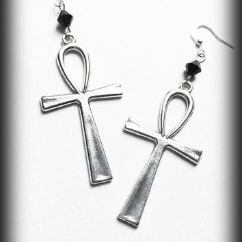Gothic Ankh Earrings, Egyptian Wicca Pagan, Jet Crystals, Alternative Jewelry, Silver Gothic Jewelry, Handmade Jewelry, Gift For Her