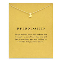 Sparkling friendship Anchor gold color plated Pendant necklace Clavicle Chains Fashion Statement Necklace For Women Jewelry