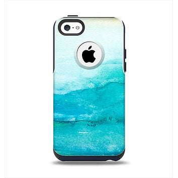 The Grungy Blue Watercolor Surface Apple iPhone 5c Otterbox Commuter Case Skin Set