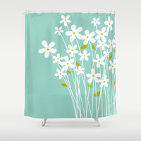 Flowers on Blue by Friztin Shower Curtain by friztin | Society6