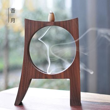 Handmade Wood Decor Backflow Incense Burner
