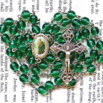 Saint Jude Rosary - Catholic Rosary, Light Green or Teal Czech Glass Beads