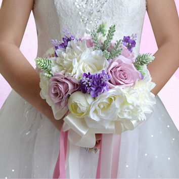 Pink, Lavender and Green Silk Flowers Bridal Wedding Bouquet