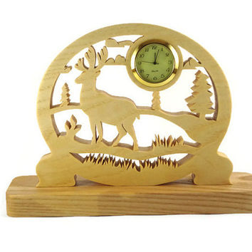 Elk Scene Desk Or Shelf Clock Handmade From Ash Wood By KevsKrafts