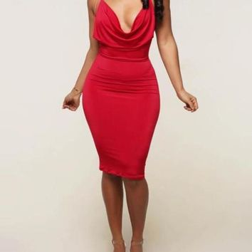 New Red Spaghetti Strap Backless Draped Collar Plunging Neckline Party Midi Dress