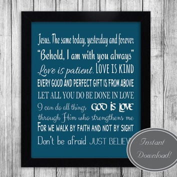 Bible verses printable art, Christian wall decor, love blue teal white Home Motivational Poster Printable Artwork Design
