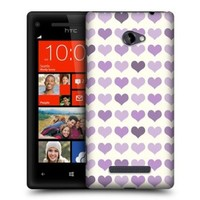 Head Case Designs Violet Fancy Hearts Protective Snap-on Hard Back Case Cover for HTC Windows Phone 8X