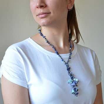 Crochet Necklace, Blue Oya Collar, Bellflowers Necklace, Beaded Wrap Necklace, Statement Necklace, Crochet Jewelry, Christmas, Women's Gift