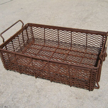 vintage industrial basket metal factory storage bin rusty patina antique old large decorative home decor mid century modern retro